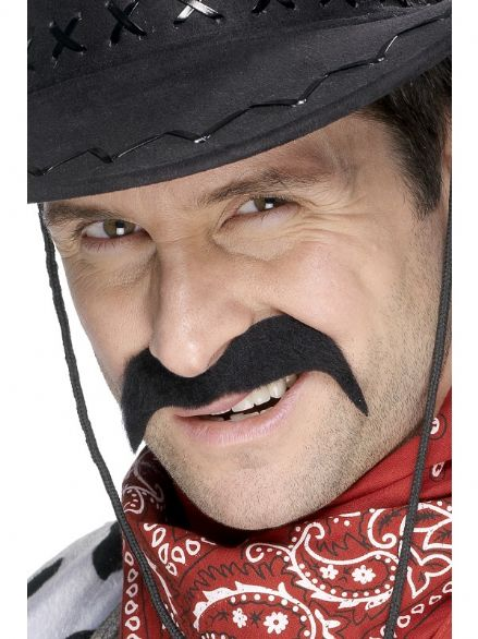 Wild West Cowboy Moustache Black